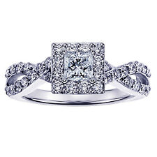 0.90 CT Princess Cut Diamond Halo Braided Engagement Ring in 14k White Gold NEW