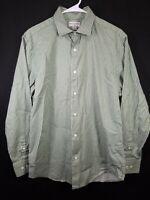 Banana Republic Mens Green White Striped Button Front Shirt Size Medium