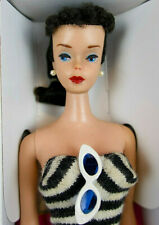 New ListingVintage '60 Brunette #4 Ponytail Barbie Org S/S Glasses Std Bklt Repro Box Bin!