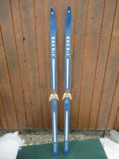 """ANTIQUE Wooden 66"""" Skis Has Its BLUE Finish with Bindings GREAT!!!"""