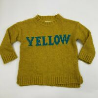 Zara Knitwear Collection Sweater Girls Size 5 Yellow Graphic Pullover Crew Neck