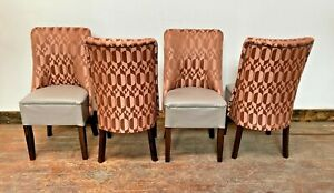 SET OF 4 COPPER AND GREY DINING CHAIRS / FABRIC / FAUX LEATHER / TUB / DARK WOOD
