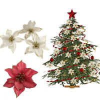 10 Pcs Glitter Poinsettia Flower Christmas Wreath Tree Decorations Xmas Gift UK