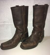 FRYE 77300 12R Harness Size 8M Brown Leather Mid Calf Motorcycle Boots Women's