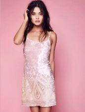 Free People Lenni Malu Velvet Mini Embellished Dress Pale Pink $250 Size XS