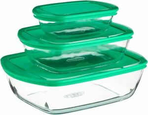 Pyrex Cook & Store Rectangular Dishes with Green Lids Set of 3 Piece