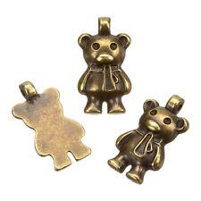 Laiton antique teddy bear metal charm pendentifs (9x17mm) pack de 3 (B109/3)