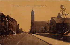H73/ Springfield Ohio Postcard c1910 East High St Church Stores 91