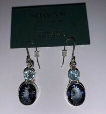 Silver~Blue Topez Quartz-New 1.5� Shivam Made In India Sterling