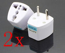 2 BY ADAPTER CONVERTER PLUG US USA American ASIA to EU EUROPEAN 3PATAS