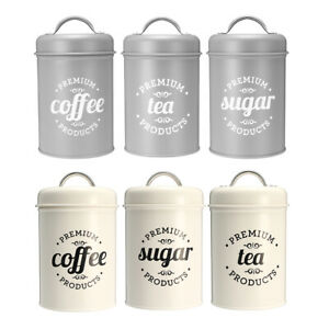 Metal Coffee Tea Sugar Kitchen Iron Canisters Storage Jar Cup Bottle