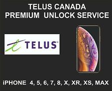 Telus Canada Premium Unlock Service, fits iPhone  4, 5, 6, 7, 8, X, XR, XS, MAX