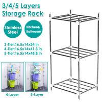 3/4/5-Layer Kitchen Bathroom Rack Storage Holder Stainless Steel Shel #