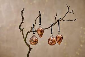 4 Antique Copper Orange Dew Drop Hanging Bauble Rustic Christmas Jalshara Nkuku