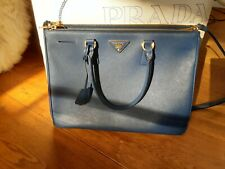 Prada Saffiano lux bluette 1BA786 large double zip leather tote bag