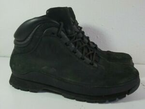 Timberland Solid Black Nubuck Suede Hiking Boots Mens Sz 9.5
