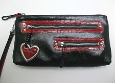 Brighton Chic Heart Pouch Wristlet Black & Red Patent Leather NWT E95103