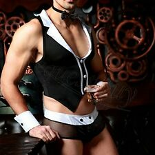 Sexy Mens Lingerie Maid Costume Waiter Outfit Boxer Brief Underwear Halloween