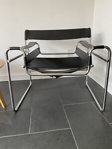 Reproduction Marcel Breuer Wassily Style Chrome Black Leather Sling Lounge Chair