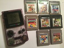 NINTENDO GAMEBOY COLOR CLEAR PURPE CONSOLE +BIG GAME BUNDLE yoshi tweety's iss