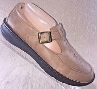 DREW Women 7.5 W Amelia T-Strap Mary Jane Tan Beige Leather Shoe Orthotic Loafer
