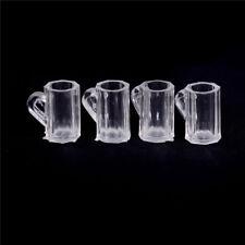 4pcs Dollhouse Miniature Plastic Clear Beer Mugs Cup Kitchen Accessory 1:12 QCKK