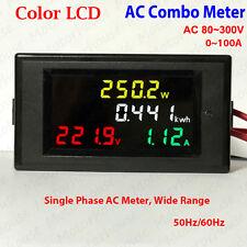 Digital LCD AC 110V 220V 230V 240V LED Voltmeter Panel Volt Amp Watt Combo Meter
