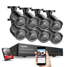 SANNCE 8CH 1080P HDMI DVR 8x 720P HD CCTV IR-Cut Home Security Camera System 1TB