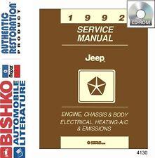 1992 Jeep Wrangler Cherokee Grand Shop Service Repair Manual CD