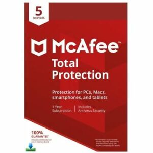McAfee Total Protection 2020 1 Year 5 Devices - Windows Mac Android iOS - Global