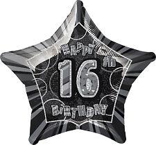 """16TH BIRTHDAY CELEBRATIONS""    16th Glitz Black & Silver 20"" Foil Balloon!"