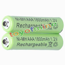 2x AAA 1800mAh 1.2V Ni-MH 3A Green Color Rechargeable Battery Cell