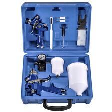 2 x HVLP Spray Gun Kit Gravity Feed Vehicle Car Paint 1.4MM 0.8MM Nozzle