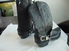 DURANGO CRUSH BLACK LEATHER WESTERN COWBOY BOOTS CHAIN STUDS  HARNESS  SZ 8