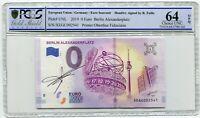 2019 0 Euro Souvenir Berlin Alexanderplatz hand signed Richard Faille PCGS 64