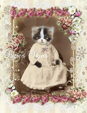 Whimsy Dust Fabric Block Vintage Cat Kitten Portrait Pink Roses Applique