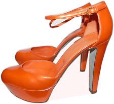 $750 Sergio Rossi Orange Patent Leather Slingback Platform Pump Shoe 36 / 6