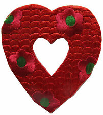 """#3757 3"""" Red Hollow Heart & Flower Embroidery Iron On Applique Patch"""