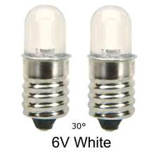 LED Lamp Bulb  6V White  30° MES E10 screw  ...Lot of 2