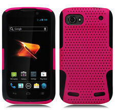 For ZTE Warp Sequent MESH Hybrid Silicone Rubber Skin Case Phone Cover Pink