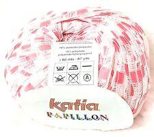 Katia PAPILLON Cotton Blend Ribbon Yarn  col. 8 Pink/White