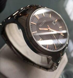 Mens Genuine Bulova Designer Watch 96B264 Black Two Tone Rose Gold Steel