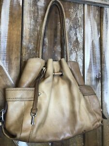 FOSSIL  Brown Leather Drawstring Bucket Hobo Purse Bag Bohemian