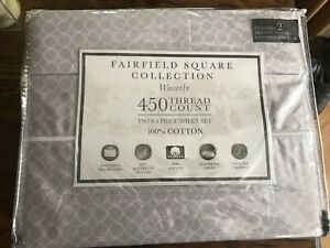 Fairfield Square Collection WAVERLY 450 TC 4 Piece Twin Sheet Set LILAC CIRCLES
