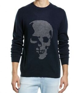 Autumn Cashmere Men's Black Birdseye Skull Wool Cashmere Crew Neck Sweater S NEW