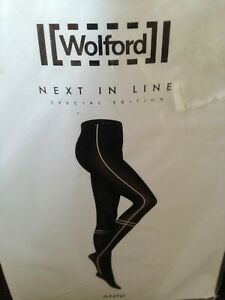 WOLFORD SPECIAL EDITION OPAQUE BROWN BLACK IN LINE TIGHTS XS rrp £17.00