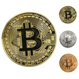 3Stk Bitcoin Münze Sammler Münze Kunst Sammlung Gold Silber Kupfer Geschenk