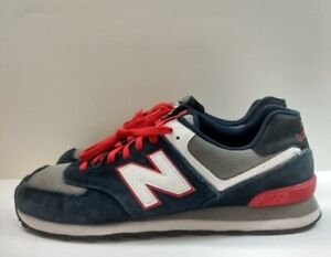 New Balance 574 Suede Classic Sneakers Navy Blue/Red/Gray Men's Sz 13 ML574CPM