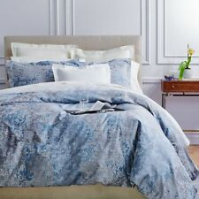 $875+tax Frette Lago Sateen Jacquard Gray Blue Queen Duvet Cover Abstract Italy