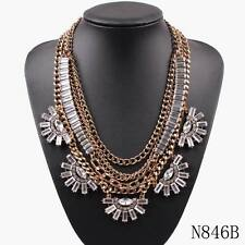 2018 New Design Gold Plated Bib Chunky Statement Summer Luxury Crystal Necklace